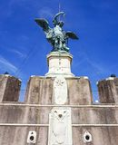 ROME, ITALY; OCTOBER 11, 2017: Archangel St Michael Statue at th. ROME, ITALY; OCTOBER 11, 2017: Archangel St Michael Statue with sword at the top of Castel Royalty Free Stock Images