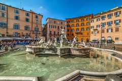 Fontana del Nettuno in Piazza Navona. Rome, Italy - October 13: Fontana del Nettuno in Piazza Navona stock images