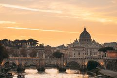 Rome, Italy. Papal Basilica Of St. Peter In The Vatican And Aelian Bridge In Sunset Sunrise Time. Rome, Italy - October 19, 2018: Papal Basilica Of St. Peter In stock images