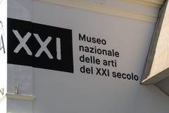 MAXXI National Museum of XXI Century Arts, Rome, Italy. Rome, Italy - October 31, 2018: Signboard of MAXXI National Museum of XXI Century Arts, national museum royalty free stock photography