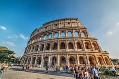 Tourists in Colosseo square. Rome, Italy - October 13, 2017: tourists in Colosseo square Royalty Free Stock Images