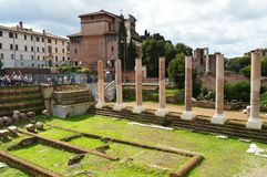Rome, Italy-October 7, 2018: View of the Roman Forum in Rome, Italy. The Roman forum is one of the main tourist destinations in. Europe. Beautiful panorama of stock photography