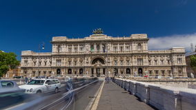 Rome, Italy. Palace of Justice timelapse hyperlapse - courthouse building with Ponte Sant' Umberto bridge. Rome, Italy. Palace of Justice (Palazzo di Giustizia) stock footage