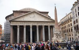 Pantheon and his obelisk in Rome royalty free stock images
