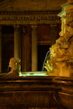 Rome, Italy, the Pantheon and baroque water fountain at night Royalty Free Stock Photos