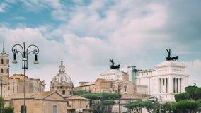 Rome, Italy. People walking on via dei fori imperiali in summer day near santi luca e martina church, basilica of st stock video footage