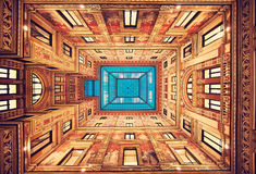 Rome. Italy. Perfect classical decoration. Rome. Italy. Perfect classical decoration of inner yard public building. Beauty of symmetry stock photography