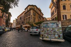 11/09/2018 - Rome, Italy: Piazza trilussa in Trastevere, parked royalty free stock photos