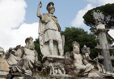 Rome, Italy - Pincio fountain at famous Piazza del Popolo square Royalty Free Stock Images