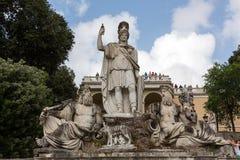 Rome, Italy - Pincio fountain at famous Piazza del Popolo square Stock Images