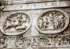 Roman Forum - Arch of Constantine Round Relief & Frieze. Rome, Italy - 08/13/2012 -  Roman Forum - Arch of Constantine Round Relief & Frieze Royalty Free Stock Images