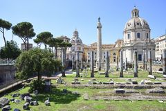 Rome, ruins of the imperial forums and the Trajan column royalty free stock images
