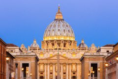 Rome, Italy. Saint Peters Basilica at twilight, Vatican City. Rome, Italy Royalty Free Stock Photos