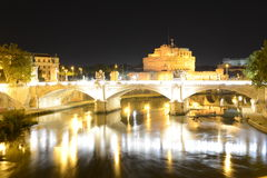 Rome, Italy, Sant Angelo castle and Tevere river Stock Images
