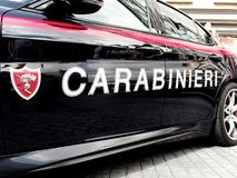 Closeup car or vehicle of Carabinieri Italian police forces. Rome, Italy - Sept 2018: closeup car or vehicle of Carabinieri Italian police forces royalty free stock photography
