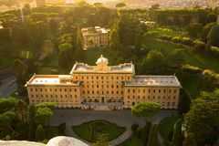 Rome, Italy - September 13, 2017: Aerial View Of The Buildings And Vatican Gardens From The Dome Of St. Peter`s Basilica. Stock Photo