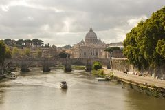 Rome, Italy - September 14, 2017: Beautiful View Of St. Peter`s Basilica In The Vatican From The Tiber River In Rome. Royalty Free Stock Photography