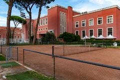 Foro Italico, Rome, Italy. Rome, Italy - September 4, 2018: Exterior of the Foro Italico, formerly Foro Mussolini, is a sports complex in Rome built between 1928 stock photography