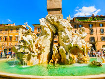 Rome, Italy - September 10, 2015: Fragment of a fountain of four rivers on the area of Navona. Rome Stock Image