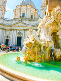 Rome, Italy - September 10, 2015: Fragment of a fountain of four rivers on the area of Navona. Rome Royalty Free Stock Photo