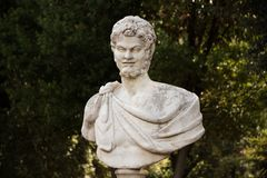 Rome, Italy - September 14, 2017: Marble bust of the man in the gardens of Villa Borghese. Stock Images