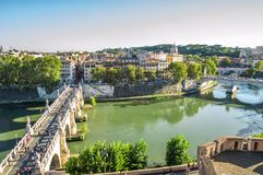 Rome, Italy. September. Panoramic view of the Castel Sant`Angelo on Rome. View of the bridge Ponte Sant`Angelo, the green waters stock image