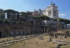 ROME, ITALY - SEPTEMBER 4, 2016. The the ruins of the Roman Foru Royalty Free Stock Photos
