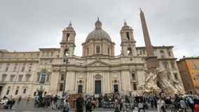 ROME, ITALY- SEPTEMBER 30, 2015: sant`agnese church in piazza navona in rome stock image