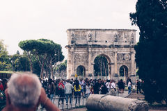 ROME, ITALY - September 23, 2015. Triumphal arch of Constantine in , Royalty Free Stock Photos