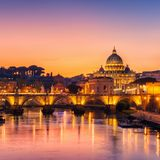 Rome, Italy with St Peter Basilica of the Vatican. Rome Skyline with Vatican St Peter Basilica and St Angelo Bridge crossing Tiber River in city center of Rome royalty free stock photos