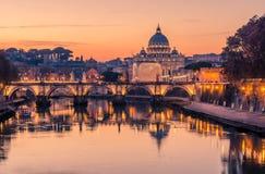 Rome, Italy: St. Peter's Basilica, Saint Angelo Bridge, Tiber River Stock Photography