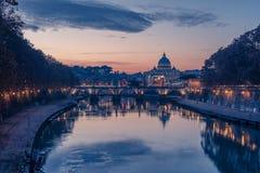 Rome, Italy: St. Peter's Basilica and Saint Angelo Bridge Stock Image