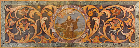 ROME, ITALY: Stone floral mosaic with st. John of Capistrano in side chapel of church Basilica di Santa Maria in Aracoeli. ROME, ITALY - MARCH 11, 2016: The Stock Images