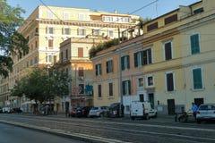 Rome, Italy.Street Via di Porta Maggiore at morning. Royalty Free Stock Photo