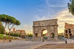 Rome Italy. Rome sunrise city skyline at Arch of Constantine, Rome, Italy Stock Photography