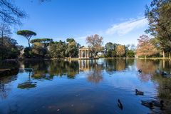 Rome Italy. Temple of Asclepius at Villa Borghese gardens. Rome Italy. Temple of Asclepius Tempio di Esculapio at Villa Borghese gardens stock photography