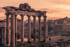 Rome, Italy:Temple of Saturn n the Roman Forum Stock Image