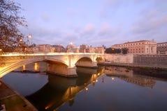 Rome, Italy, the tiber river. Rome, Italy, Bridge Vittorio Emanuele II on the tiber river at dawn Royalty Free Stock Photo