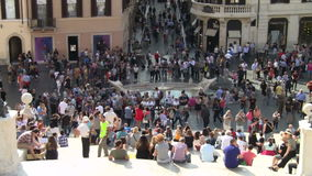 Rome, Italy Tourists at Barcaccia in Spain Square stock video