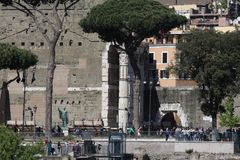 Rome, Italy : Tourists at the Roman Forum Royalty Free Stock Photo