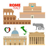 Rome Italy Travel Doodle with Architecture Royalty Free Stock Photos