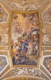 ROME, ITALY: The vault fresco The Raising of Lazarus at the Prayer of His Sister Mary in church Chiesa di Santa Maria Maddalena Royalty Free Stock Photos