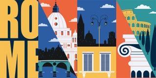 Rome, Italy vector banner, illustration. City skyline, historical buildings in modern flat design. Style. Italian ancient landmarks vector illustration