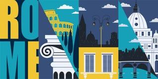 Rome, Italy vector banner, illustration. City skyline, historical buildings in modern flat design. Style. Italian and Roman landmarks vector illustration