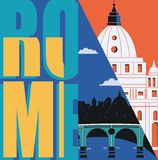 Rome, Italy vector banner, illustration. City skyline, St Pete in modern flat design style. Italian ancient landmarks in travel to Rome concept image vector illustration