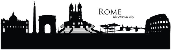 Rome, Italy. Vector illustration of the skyline cityscape of Rome, Italy Stock Photography
