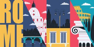 Rome, Italy vector skyline illustration, postcard. Travel to Italy modern flat graphic design. Banner with Roman ancient landmarks - Colosseum, column royalty free illustration