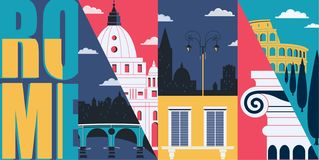 Rome, Italy vector skyline illustration, postcard. Travel to Rome modern flat graphic design. Element with Italian landmarks - Colosseum, cathedral, city views vector illustration