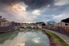 Rome, Italy.View of the bridges over River Tiber stock photo