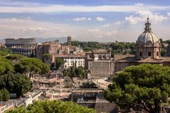 Ancient Rome Landscape. Rome, Italy. View of colosseum and imperial fora as seen from the Monument to Vittorio Emanuele II Royalty Free Stock Images